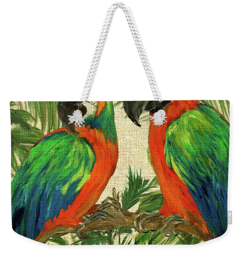 Parrot Weekender Tote Bag featuring the painting Island Birds Square On Burlap I by Julie Derice