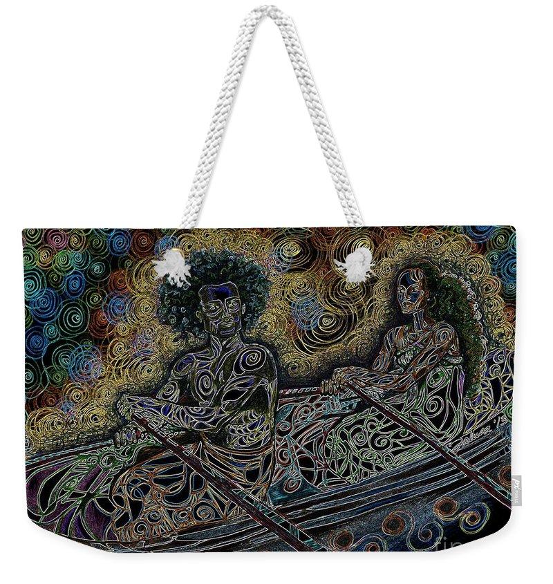 Circle Weekender Tote Bag featuring the digital art Island Canoe Lovebirds by Teleita Art