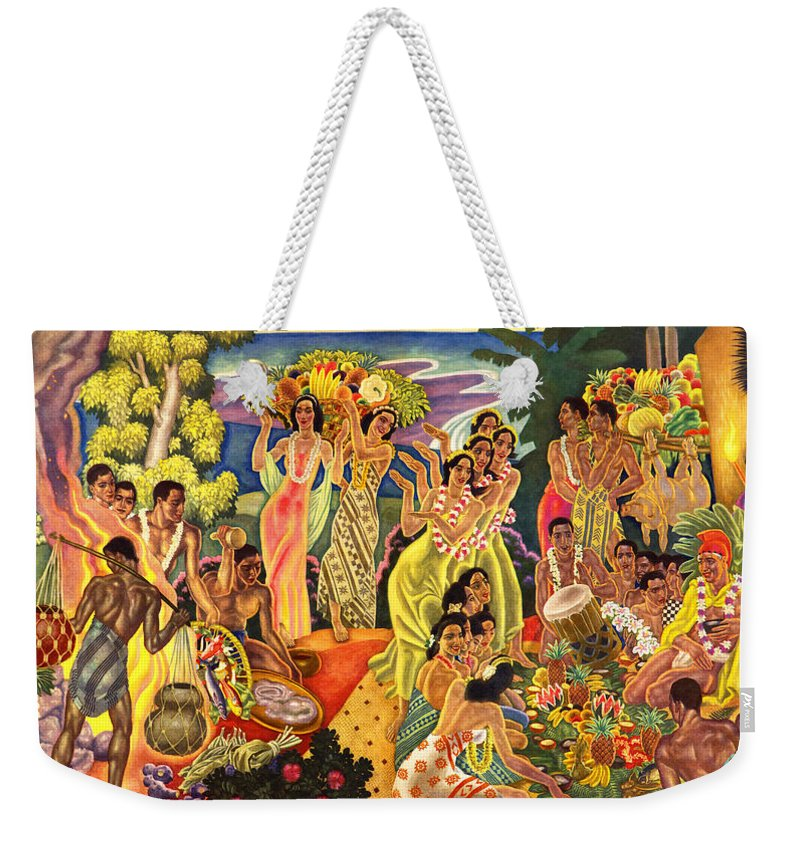 Hawaii Greeting Cards Weekender Tote Bag featuring the painting Island Feast by James Temple