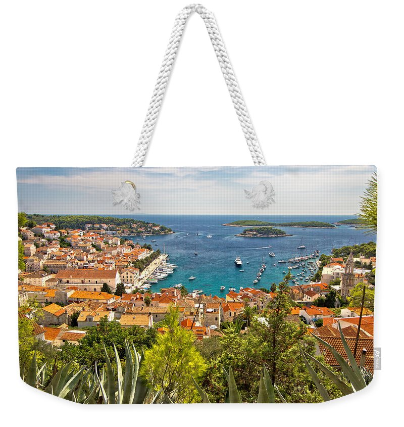 Panorama Weekender Tote Bag featuring the photograph Island Of Hvar Scenic Coast by Brch Photography