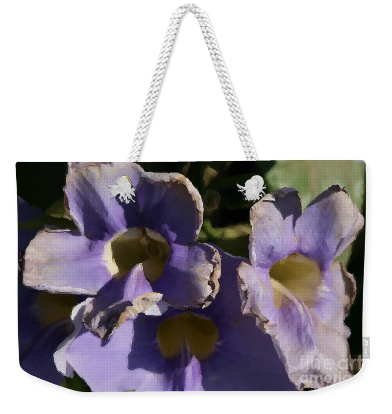Purple Weekender Tote Bag featuring the photograph Purple Flowers by Doc Braham