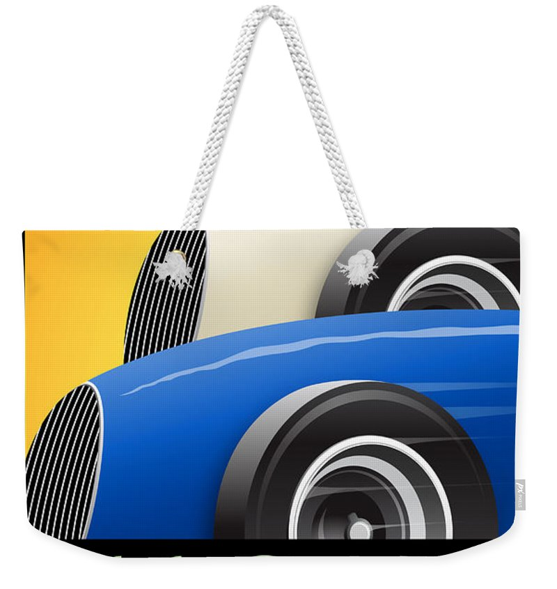 Issoire Weekender Tote Bag featuring the digital art Issoire France Grand Prix Historique by Georgia Fowler