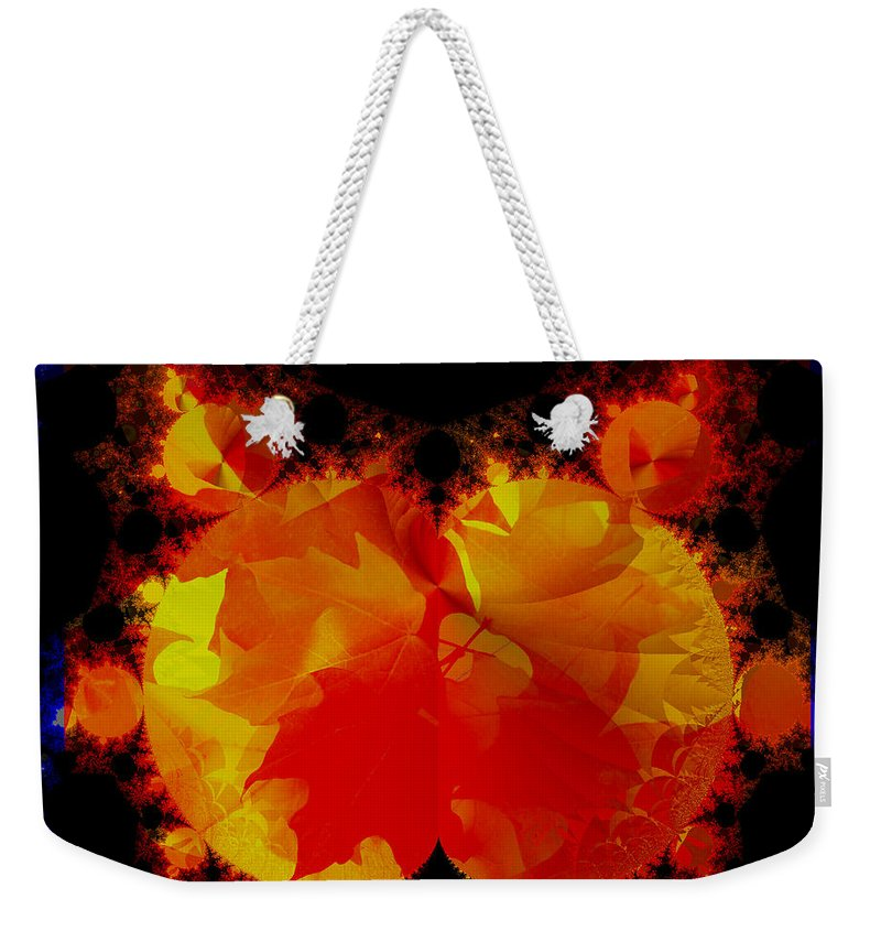 Fractal Art Weekender Tote Bag featuring the digital art It Crawled Out Of The Leaf Pile by Elizabeth McTaggart