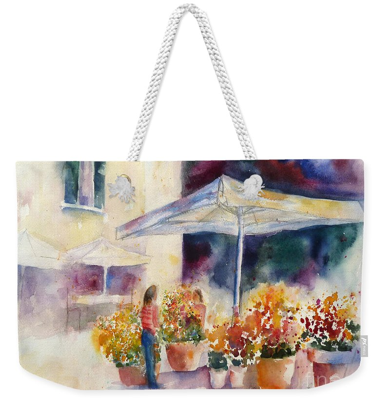 Rome Weekender Tote Bag featuring the painting Italian Flower Market by Carolyn Jarvis