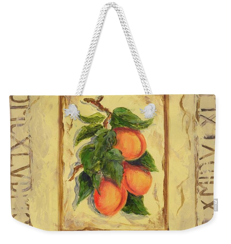 Europe Weekender Tote Bag featuring the painting Italian Fruit Apricots by Marilyn Dunlap