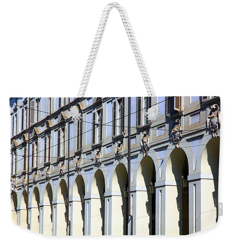 Porch Weekender Tote Bag featuring the photograph Italian Portici by Valentino Visentini