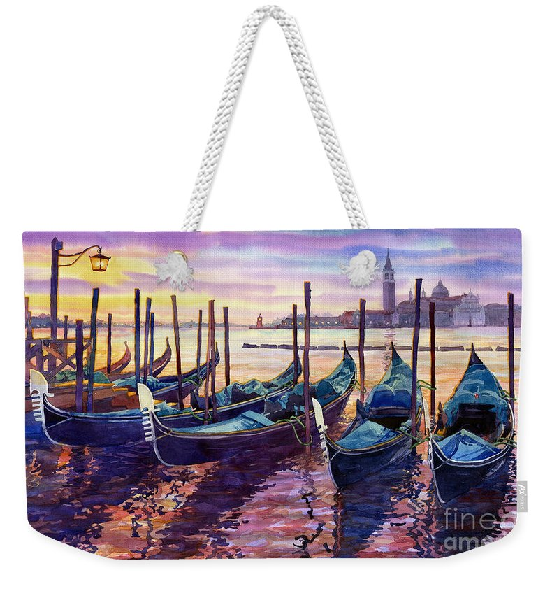 Watercolor Weekender Tote Bag featuring the painting Italy Venice Early Mornings by Yuriy Shevchuk
