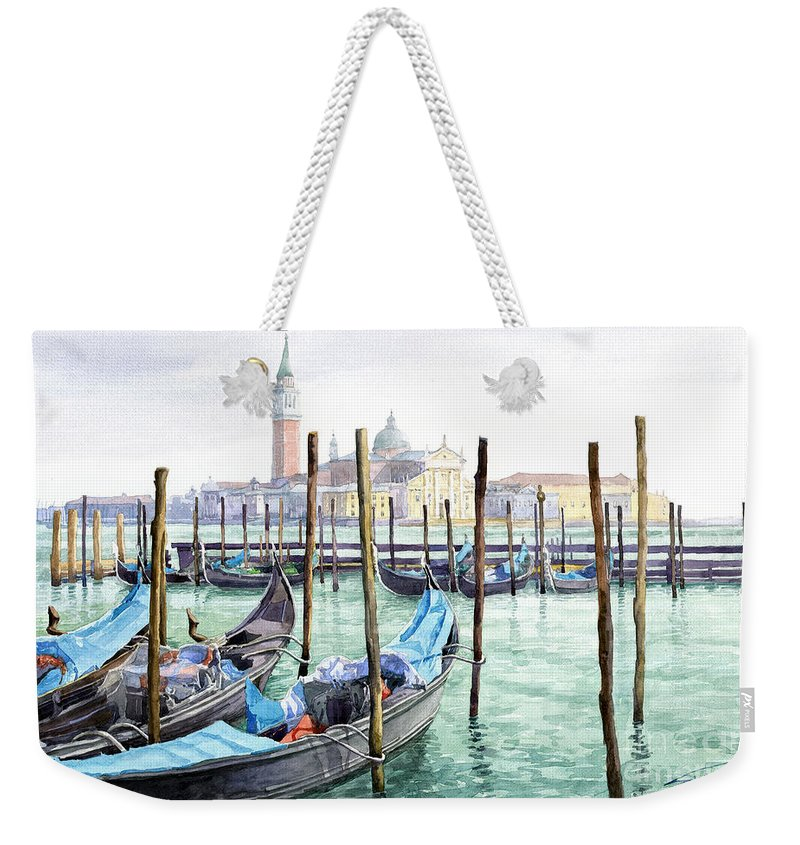 Watercolor Weekender Tote Bag featuring the painting Italy Venice Gondolas Parked by Yuriy Shevchuk