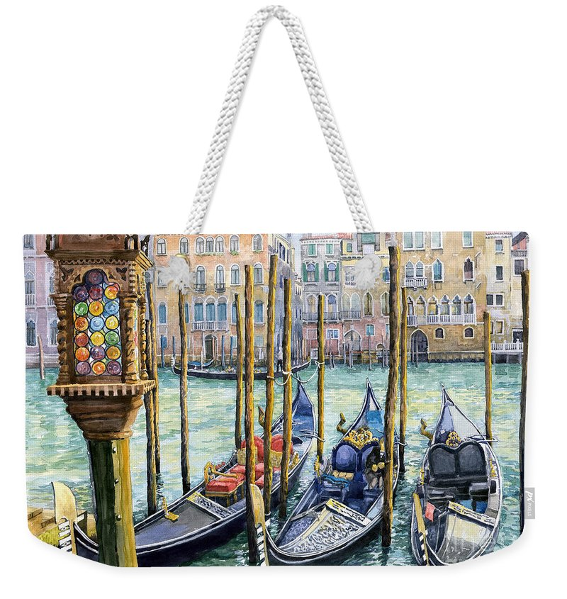 Watercolor Weekender Tote Bag featuring the painting Italy Venice Lamp by Yuriy Shevchuk