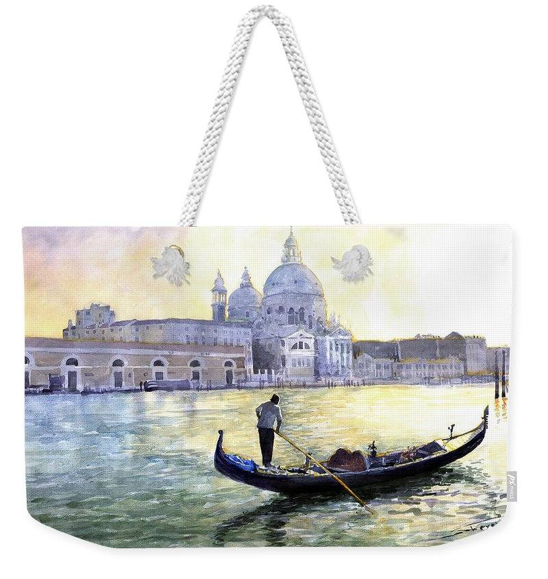 Watercolor Weekender Tote Bag featuring the painting Italy Venice Morning by Yuriy Shevchuk