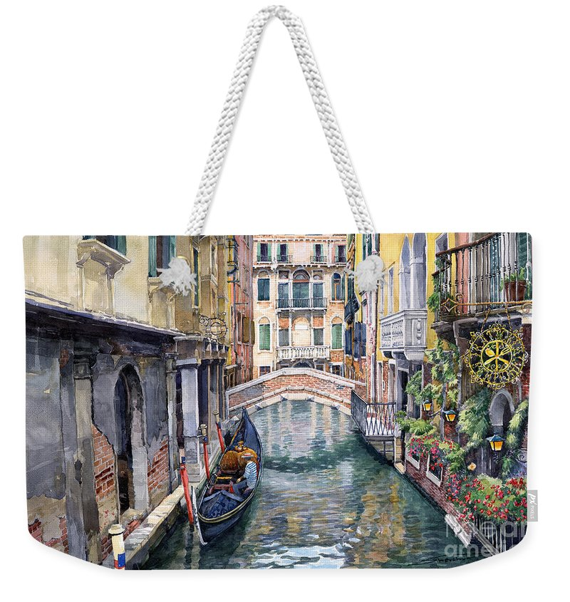 Watercolor Weekender Tote Bag featuring the painting Italy Venice Trattoria Sempione by Yuriy Shevchuk