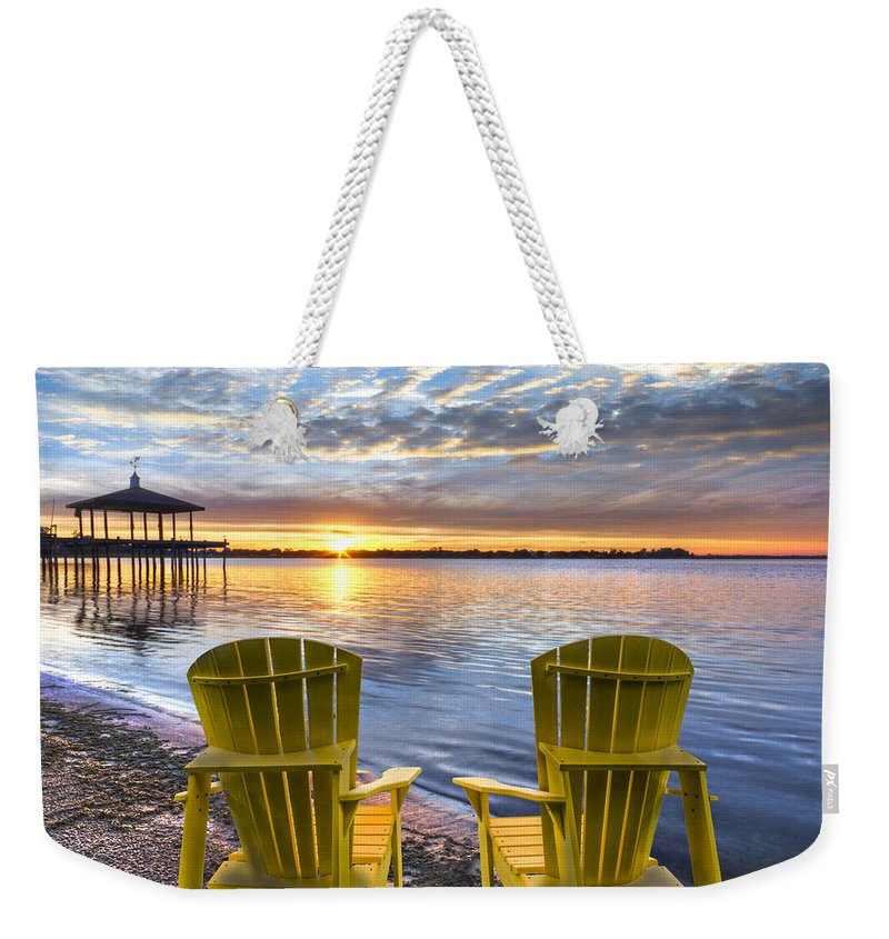 Boats Weekender Tote Bag featuring the photograph It's 5 O'clock Somewhere by Debra and Dave Vanderlaan