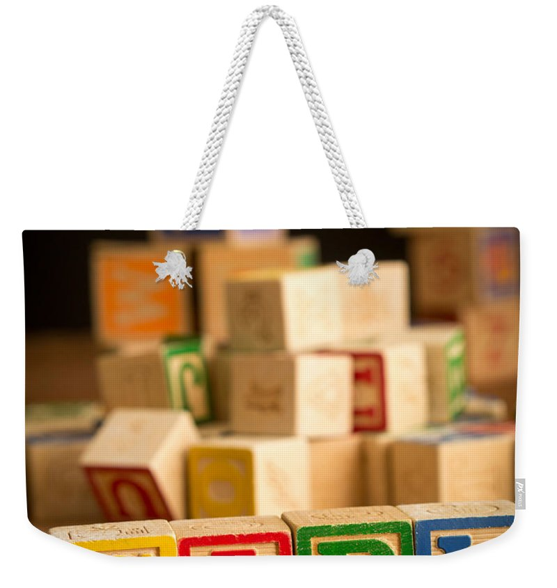Abcs Weekender Tote Bag featuring the photograph Its A Girl - Alphabet Blocks by Edward Fielding
