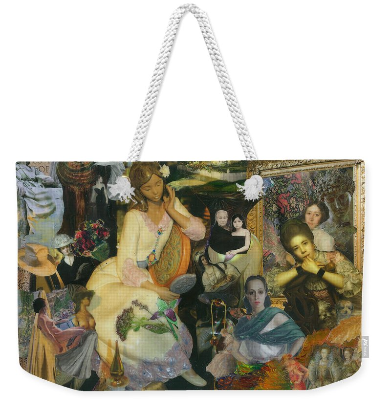 Collage Weekender Tote Bag featuring the mixed media It's All A Facade by Paula Emery