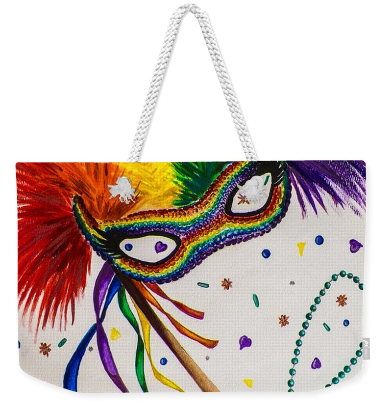 Party. Mask. Rainbow. Confetti. Colorful. Fine Art. Design. Alluring. Marti Gras. Weekender Tote Bag featuring the painting It's Party Time by Dawn Siegler