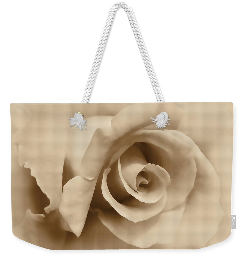 Rose Weekender Tote Bag featuring the photograph Ivory Brown Rose Flower by Jennie Marie Schell