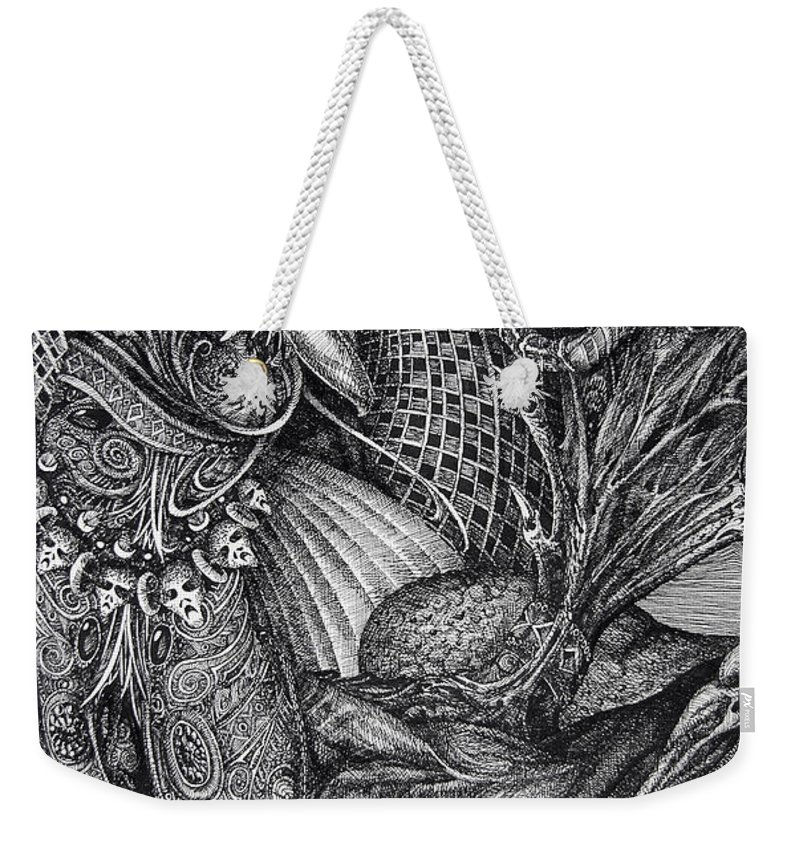 Surrealism Weekender Tote Bag featuring the drawing Jabberwocky by Otto Rapp