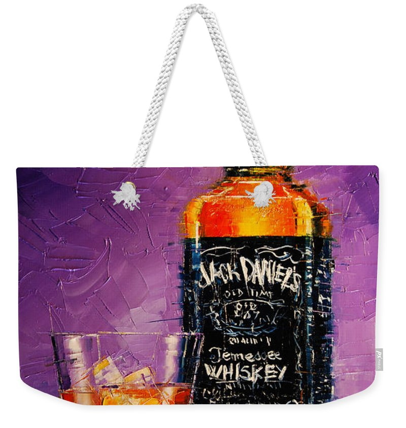 Still Life With Bottle And Glass Weekender Tote Bag featuring the painting Still Life With Bottle And Glass by Mona Edulesco