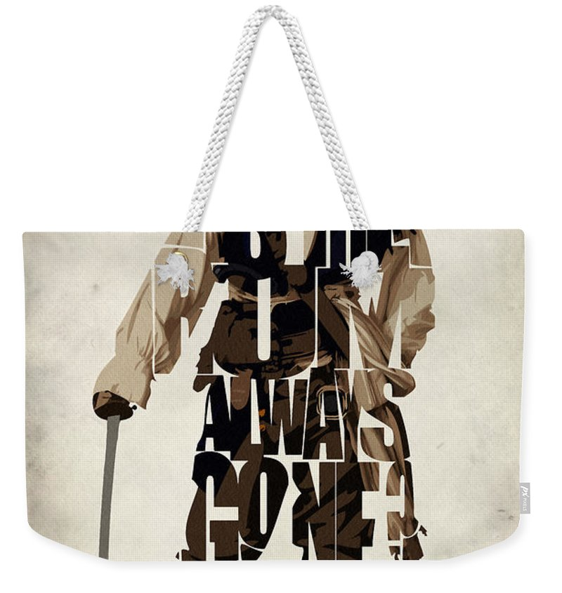Jack Sparrow Weekender Tote Bag featuring the painting Jack Sparrow Inspired Pirates Of The Caribbean Typographic Poster by Inspirowl Design