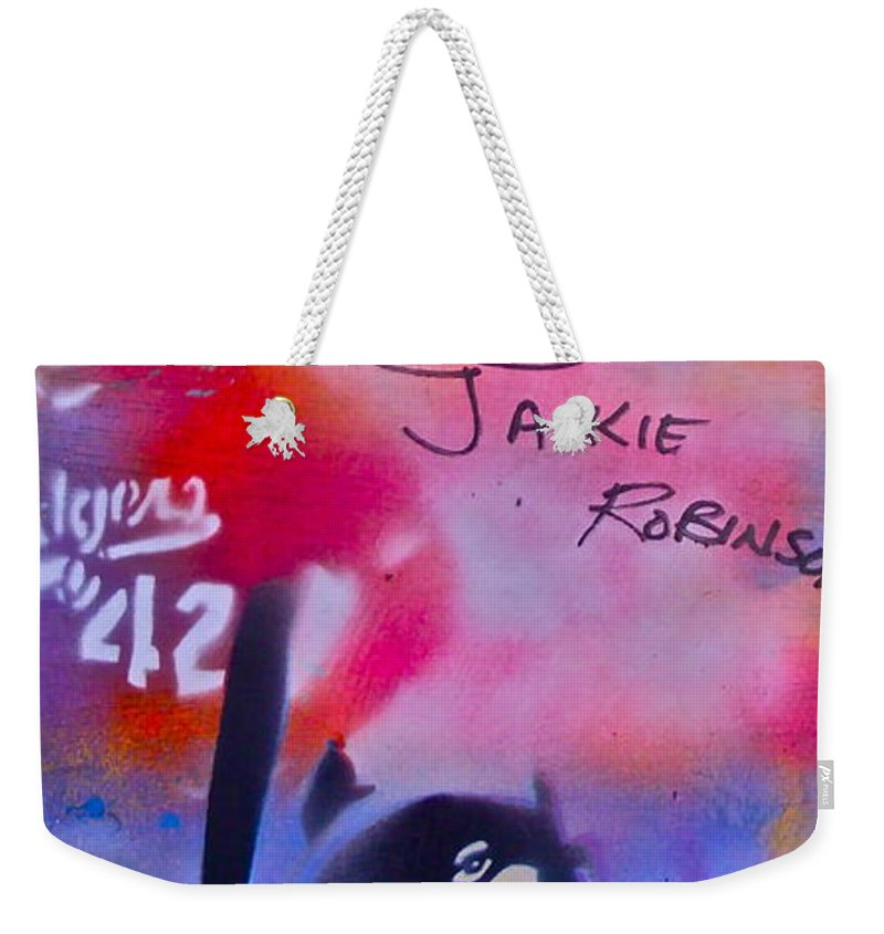Jackie Robinson Weekender Tote Bag featuring the painting Jackie Robinson Red by Tony B Conscious