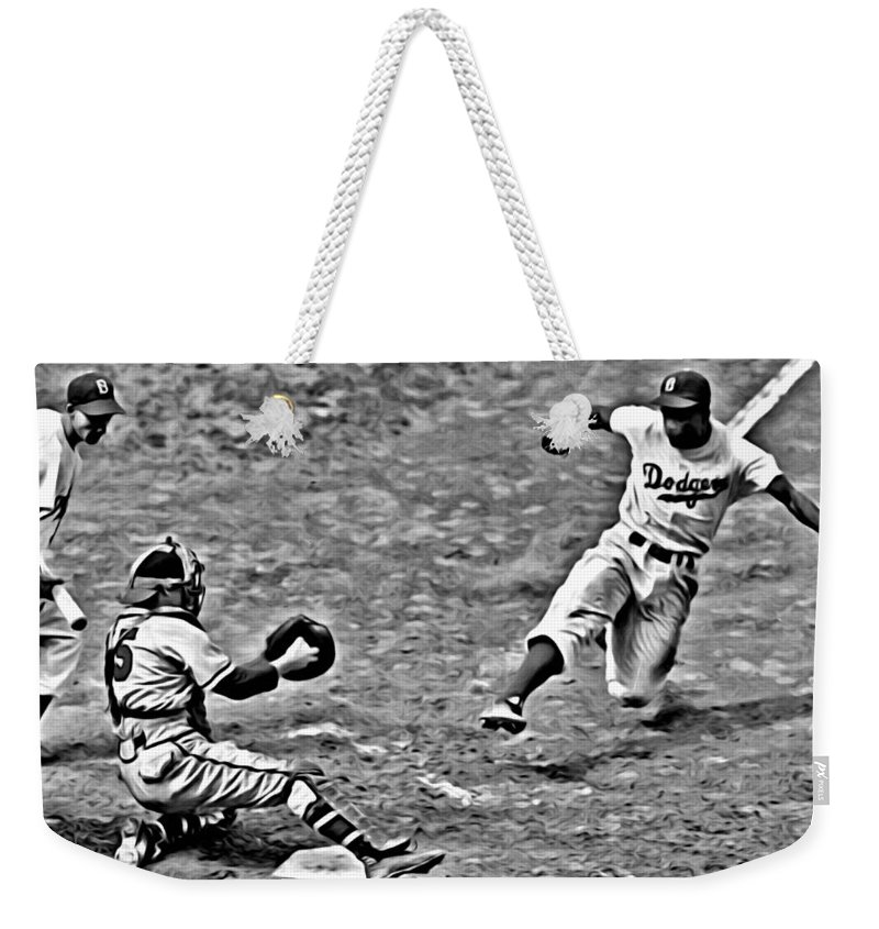 African Americans Weekender Tote Bag featuring the painting Jackie Robinson Stealing Home by Florian Rodarte