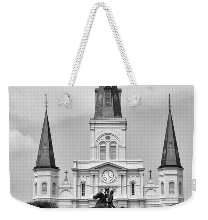 Jackson Weekender Tote Bag featuring the photograph Jackson Square In Black And White by Bill Cannon