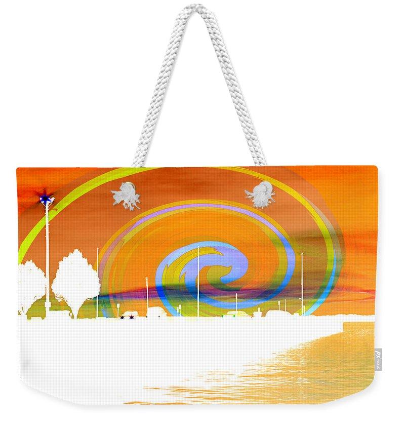 Pier Weekender Tote Bag featuring the photograph Jackson Street Pier - Orange Swirl by Shawna Rowe