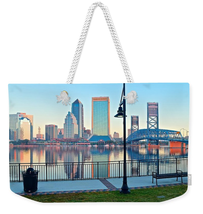 Jacksonville Weekender Tote Bag featuring the photograph Jacksonville Across The St Johns River by Frozen in Time Fine Art Photography