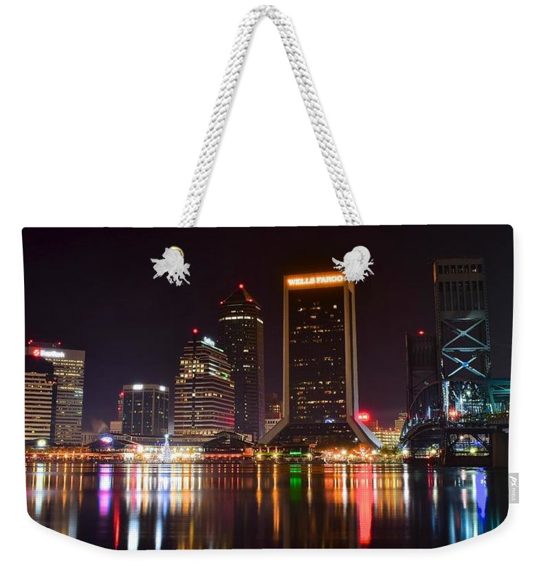 Jacksonville Weekender Tote Bag featuring the photograph Jacksonville Night by Frozen in Time Fine Art Photography