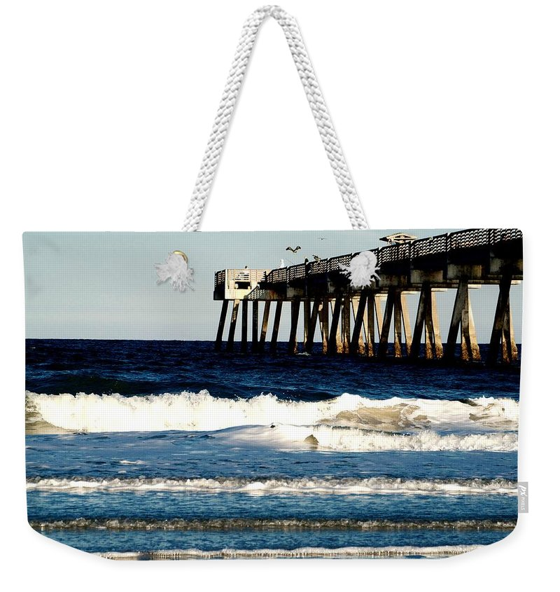 Pier Weekender Tote Bag featuring the photograph Jacksonville Pier by Anthony Walker Sr