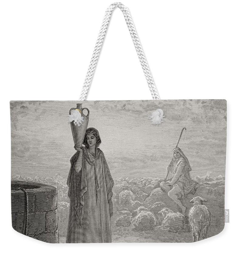 Rachel Weekender Tote Bag featuring the painting Jacob Keeping Laban's Flock by Gustave Dore