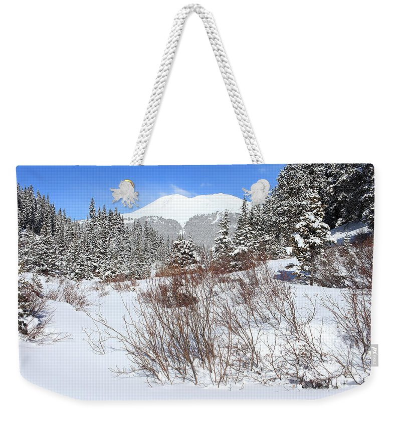 Colorado Weekender Tote Bag featuring the photograph Jacque Peak by Eric Glaser