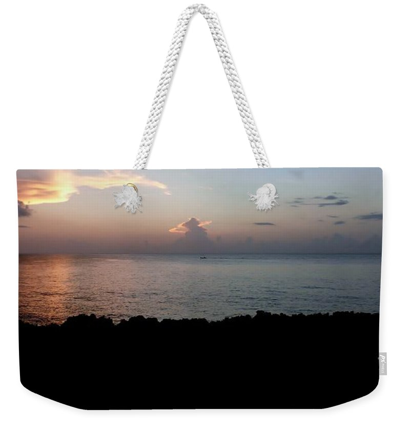 Color Weekender Tote Bag featuring the photograph Jagged Sunset by Amar Sheow