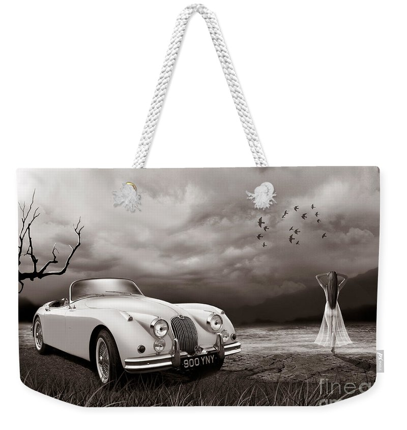 Jaguar Weekender Tote Bag featuring the digital art Jaguar Xk150 - Admiring The View by Linton Hart
