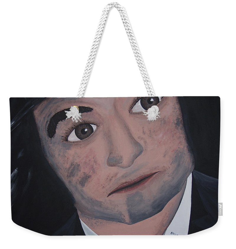 Bluesy Weekender Tote Bag featuring the painting Jake Blues by Dean Stephens