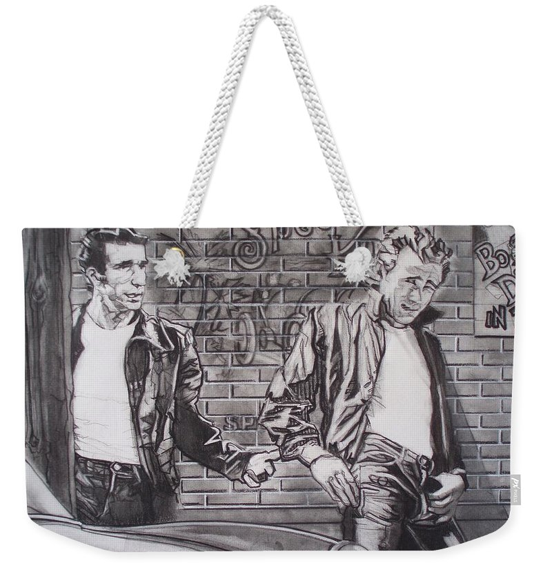 Americana Weekender Tote Bag featuring the drawing James Dean Meets The Fonz by Sean Connolly