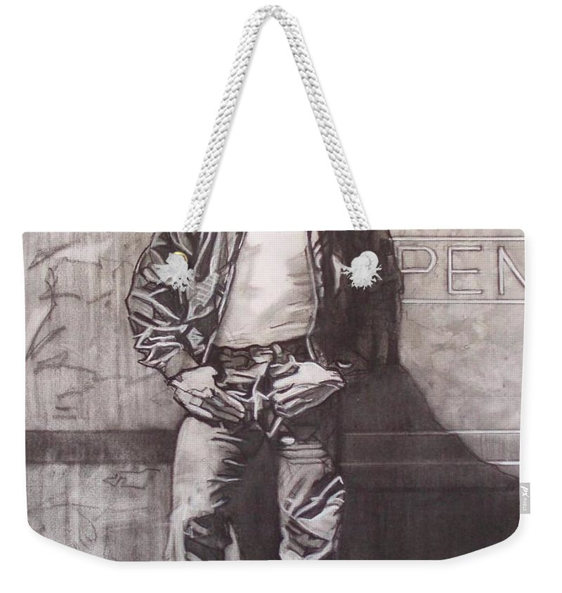 Charcoal; Icon;americana;cool;window;sidewalk;street;rock And Roll;jeans;t-shirt;diner;movie Star Weekender Tote Bag featuring the drawing James Dean by Sean Connolly