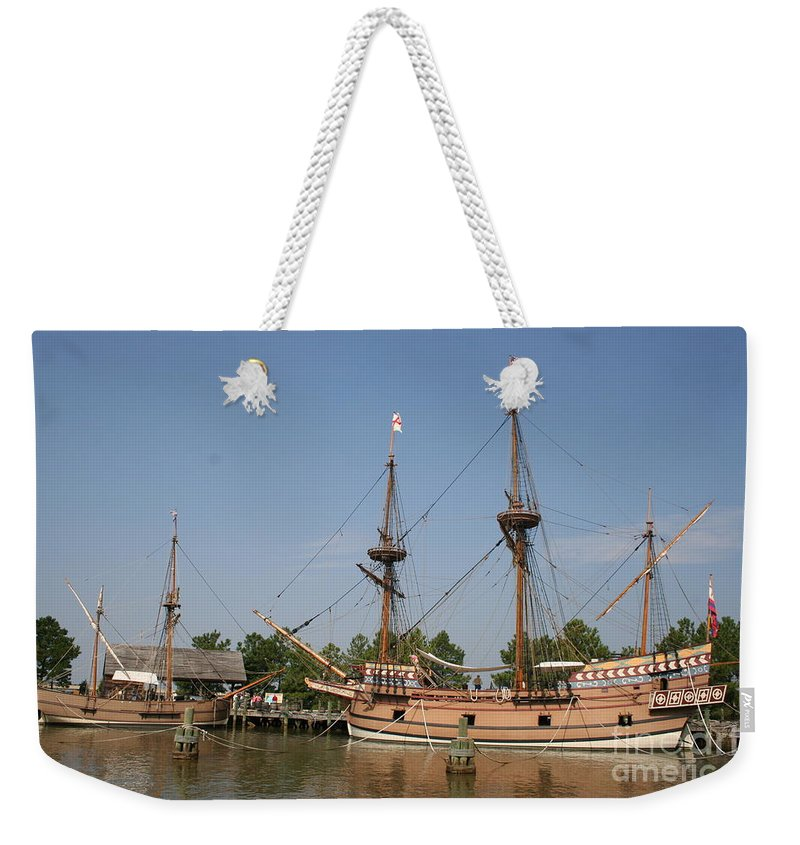 Ship Weekender Tote Bag featuring the photograph Jamestown Historic Sailingships by Christiane Schulze Art And Photography