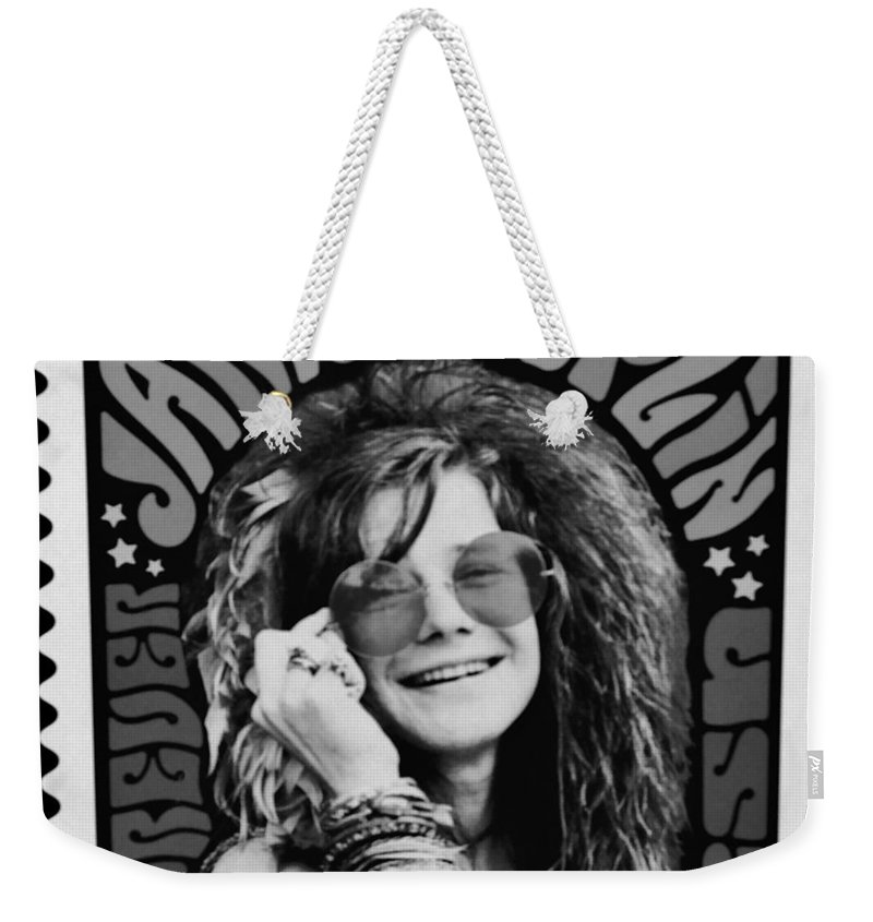 Janis Weekender Tote Bag featuring the photograph Janis Stamp In A Black And White Vibe by Rob Hans