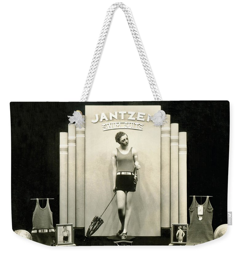 1920s Weekender Tote Bag featuring the photograph Jantzen Swim Suit Display by Underwood Archives