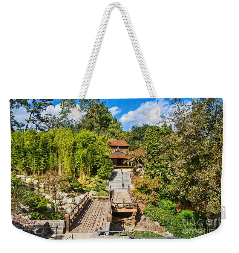Japanese Garden Weekender Tote Bag featuring the photograph Japan In Pasadena - Beautiful View Of The Newly Renovated Japanese Garden In The Huntington Library. by Jamie Pham
