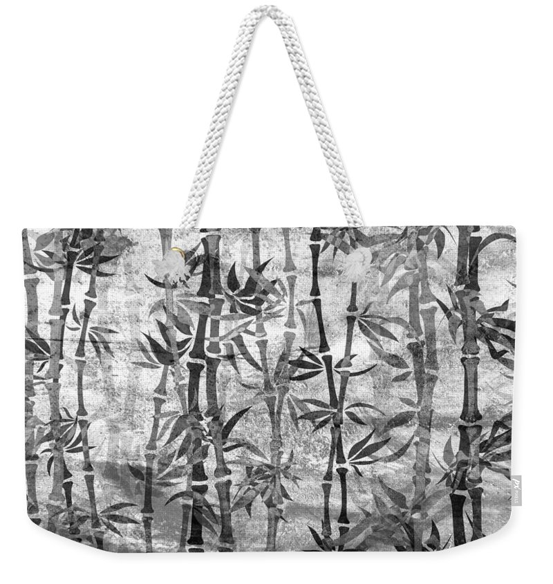 Bamboo Weekender Tote Bag featuring the mixed media Japanese Bamboo Grunge Black And White by Georgiana Romanovna