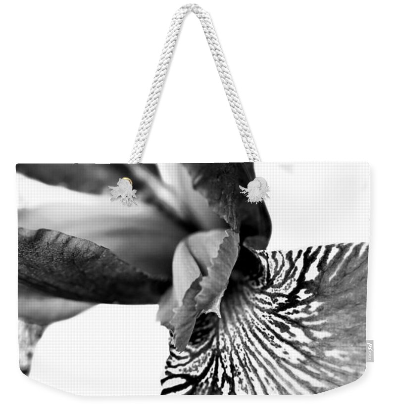 Iris Weekender Tote Bag featuring the photograph Japanese Iris Flower Monochrome 2 by Jennie Marie Schell