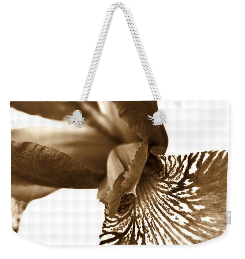 Iris Weekender Tote Bag featuring the photograph Japanese Iris Flower Sepia Brown 2 by Jennie Marie Schell