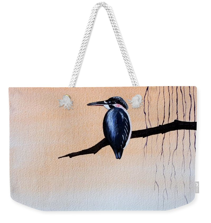 Tattoo .japanese Weekender Tote Bag featuring the painting Japanese Kawasemi Kingfisher Feng Shui Earth by Gordon Lavender
