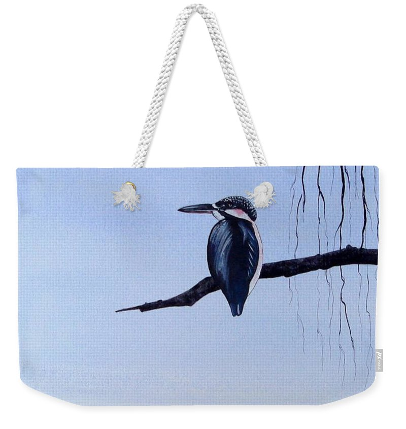 Japanese Weekender Tote Bag featuring the painting Japanese Kawasemi Kingfisher Feng Shui Water by Gordon Lavender