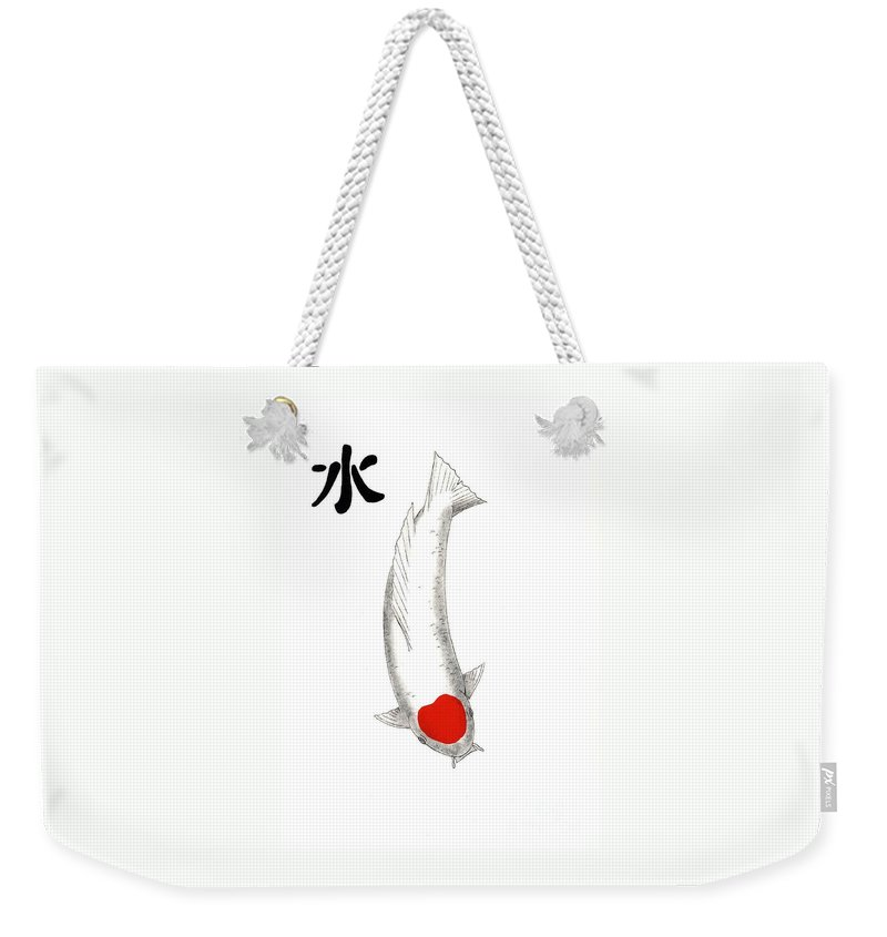 Koi Fish Carp Pond Water Japanese Collection Tancho Feng Shui Japanese Koi Lillies Carp Fish Trees Painting Gordon Lavender Water Garden Art Tancho Kohaku Asagi Ogon Gin Rin Goshiki Komoyo Higoi Yamato Showa Utsuri Sumi Sanke Irogoi Mirror Carp Bekko Weekender Tote Bag featuring the painting Painting Of The King Of Japanese Koi Kohaku Which Has The Feng Shui Symbol For Water In Th by Gordon Lavender