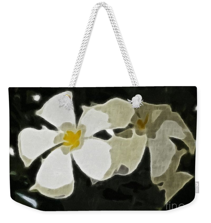Jasmine Expressive Brushstrokes Weekender Tote Bag featuring the photograph Jasmine Expressive Brushstrokes by Barbara Griffin