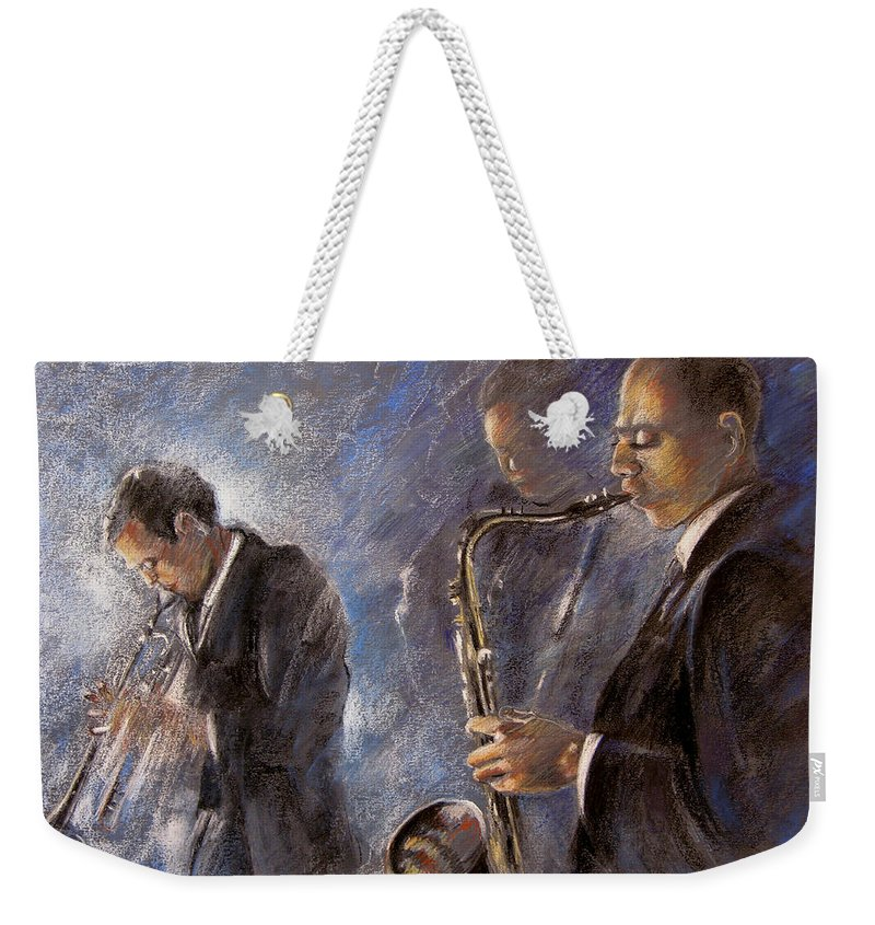 Jazz Weekender Tote Bag featuring the painting Jazz 01 by Miki De Goodaboom