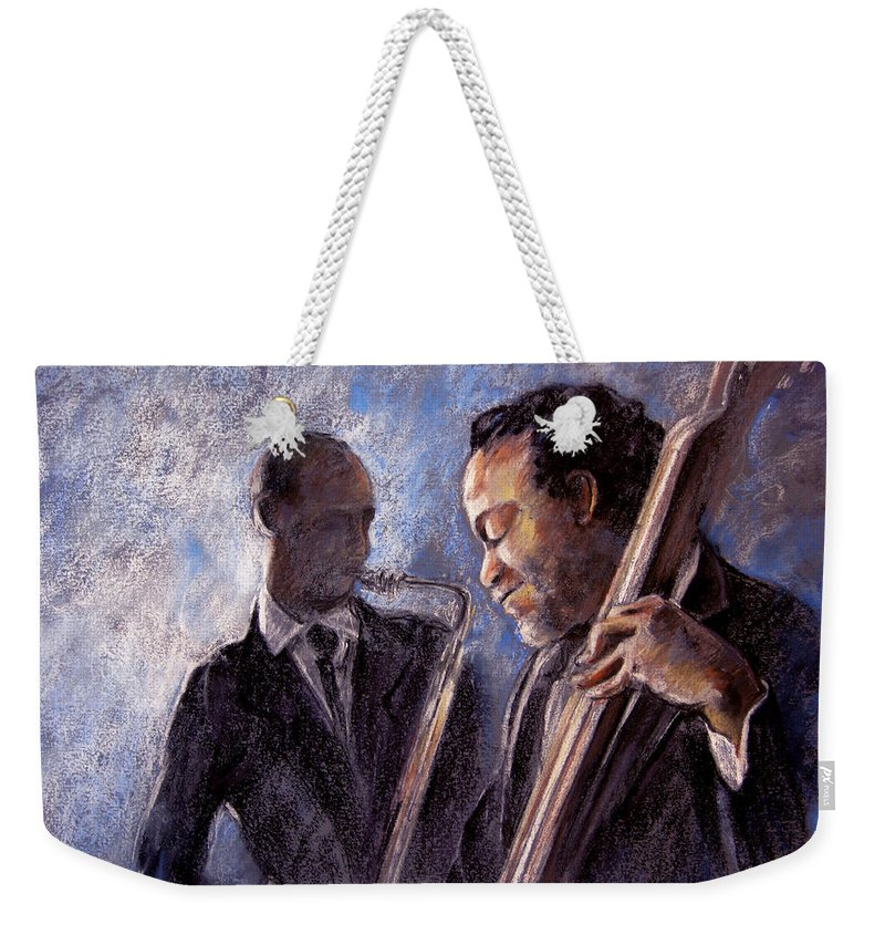 Jazz Weekender Tote Bag featuring the painting Jazz 02 by Miki De Goodaboom